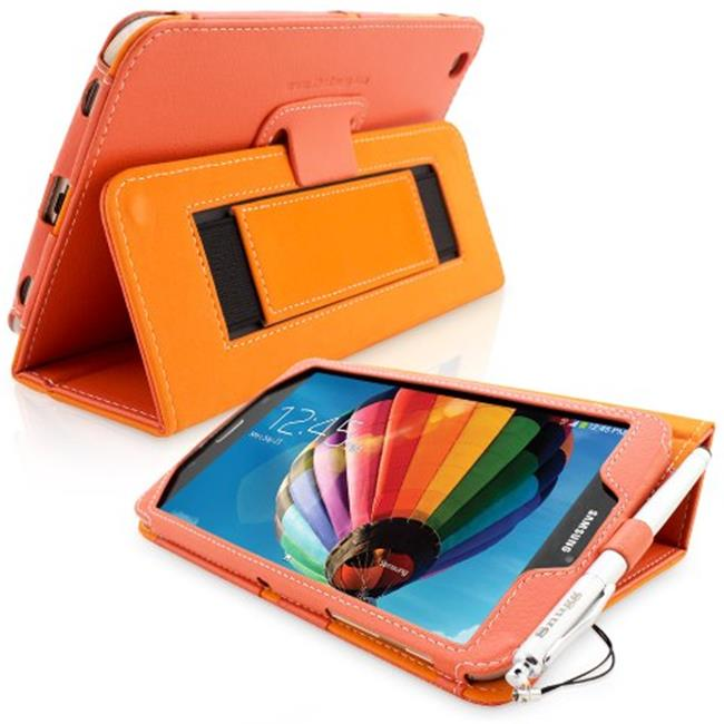 Snugg B00EQ3CSAC Galaxy Tab 3 8. 0 Case Cover and Flip Stand, Orange Leather