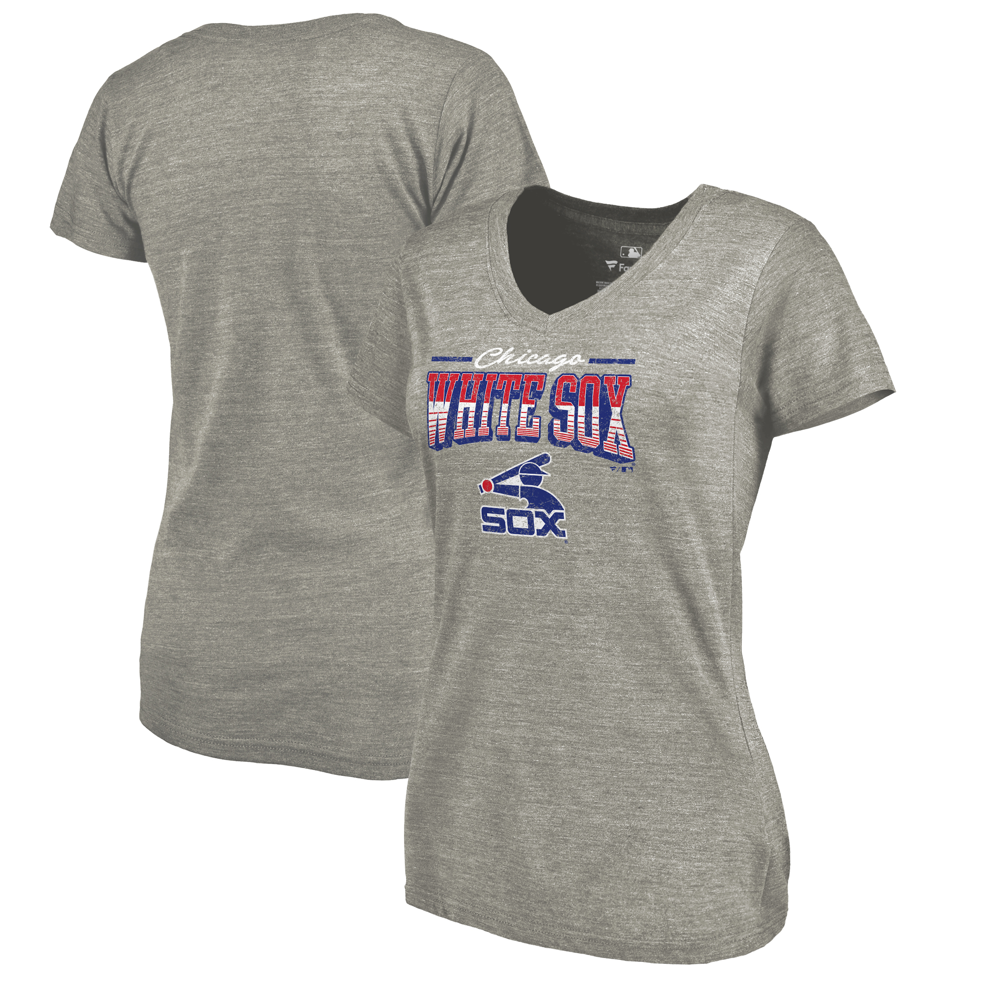 Chicago White Sox Fanatics Branded Women's Cooperstown Collection Season Ticket Tri-Blend V-Neck T-Shirt - Heathered Gray