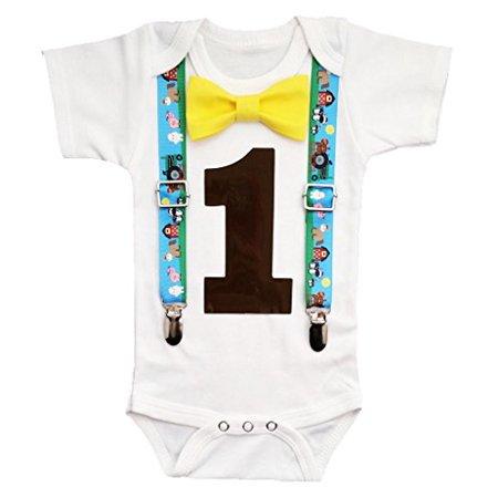 Baby Boy 1st Birthday Outfit (Noah's Boytique Baby Boys First Birthday Farm Barn Party Outfit 12-18)