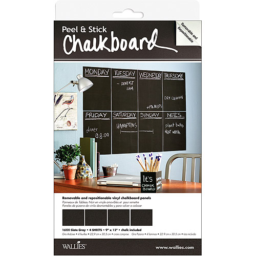 "McCall Wallies Peel & Stick Chalkboard Panels 9""X12"" 4/Pkg-Slate Gray"