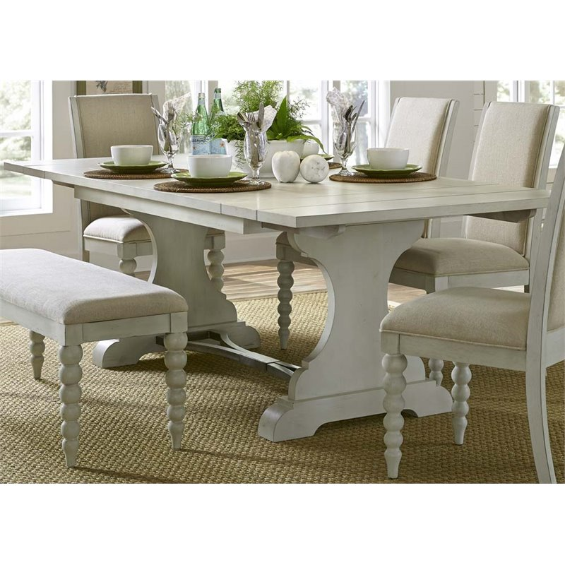 Liberty Furniture Harbor View III Trestle Dining Table in Dove Gray
