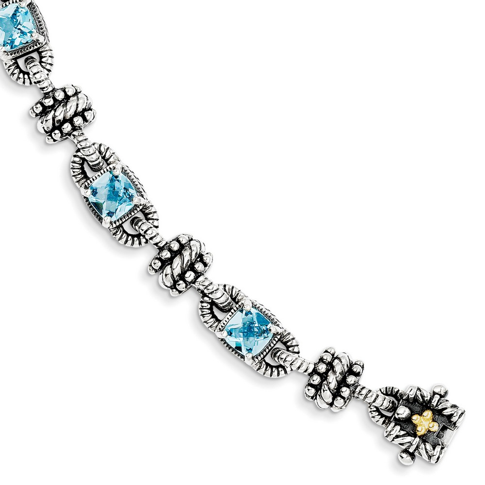 Sterling Silver With 14k 6.86Swiss Blue Topaz 7.5inch Bracelet by Kevin Jewelers