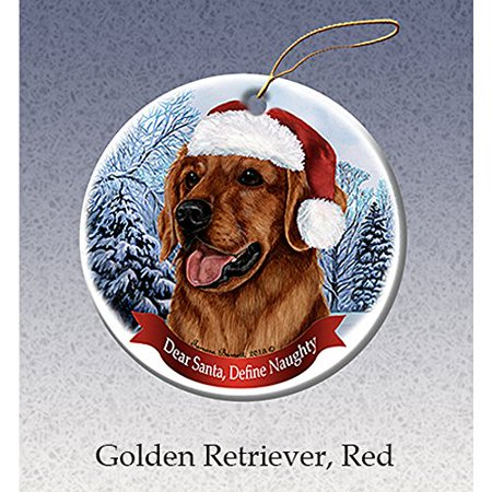 Holiday Pet Gifts Red Golden Retriever Santa Hat Dog Porcelain Christmas Tree Ornament