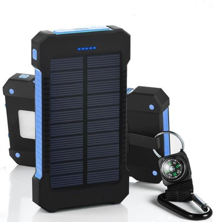 Solar Power Bank 300000mah Dual USB Li-Polymer Solar Battery Charger Travel Powerbank With a compass retail package-Blue