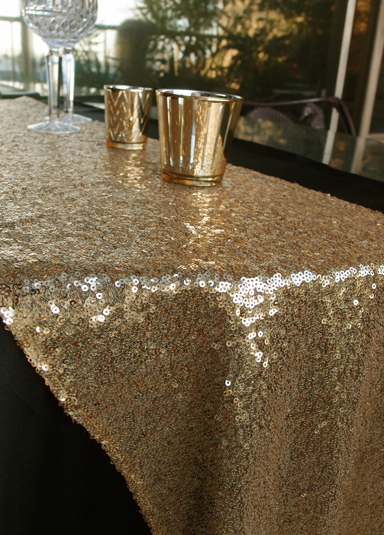 Quasimoon Sequin Table Runner Solid Gold By Paperlantern