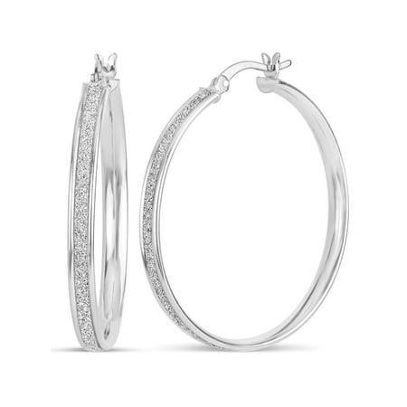 Sterling Silver Rhodium Plated Glitter Hoop Earrings
