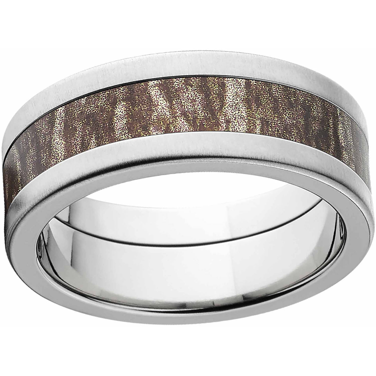 Mossy Oak Bottomland Men's Camo 8mm Stainless Steel Wedding Band with Cross Brushed Edges and Deluxe Comfort Fit