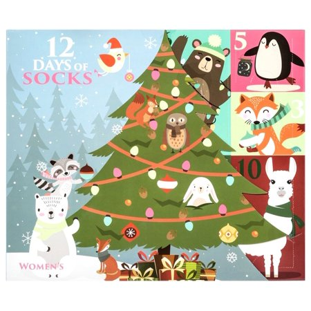 12 Days of Socks Womens Woodland Critters Socks 12-Pack [Women's Shoe Size 4 - 10] thumbnail
