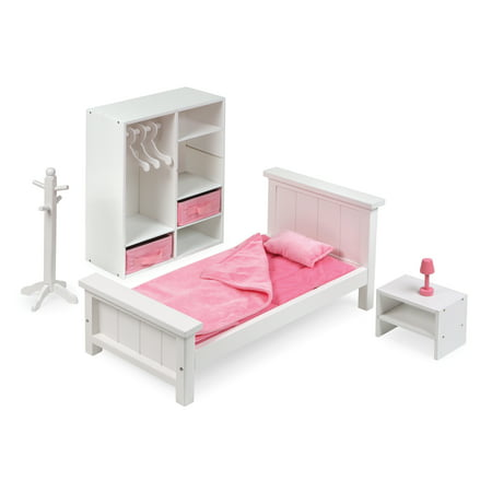 Badger Basket Bedroom Furniture Set for 18 inch Dolls - White/Pink - Fits American Girl, My Life As & Most 18