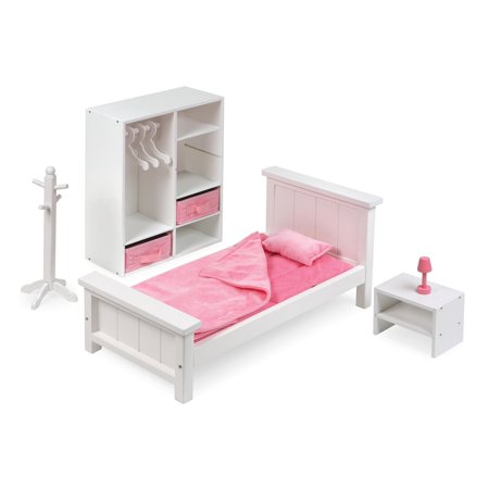 Badger Basket Bedroom Furniture Set For 18 Inch Dolls White Pink