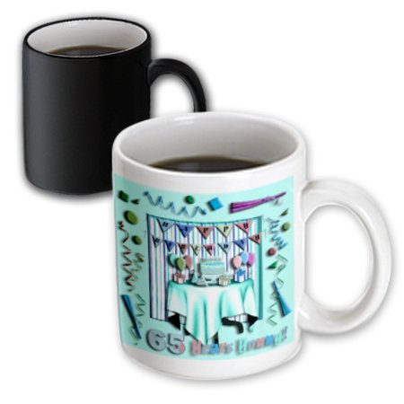3dRose Birthday Room in Green Happy Birthday 65 Years Old, Magic Transforming Mug,