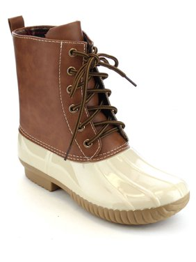 653405ff7501 Product Image AXNY DYLAN Women s Lace Up Two Tone Calf Rain Duck Boots Run  Half Size Small