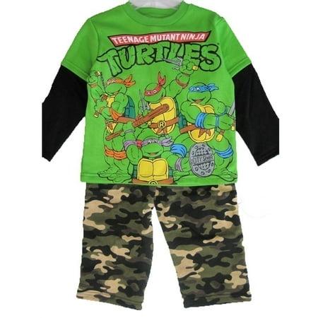 Little Boys Green Ninja Turtles Camouflage 2 Pc Pants Set 12-24M](Ninja Turtle Outfit)