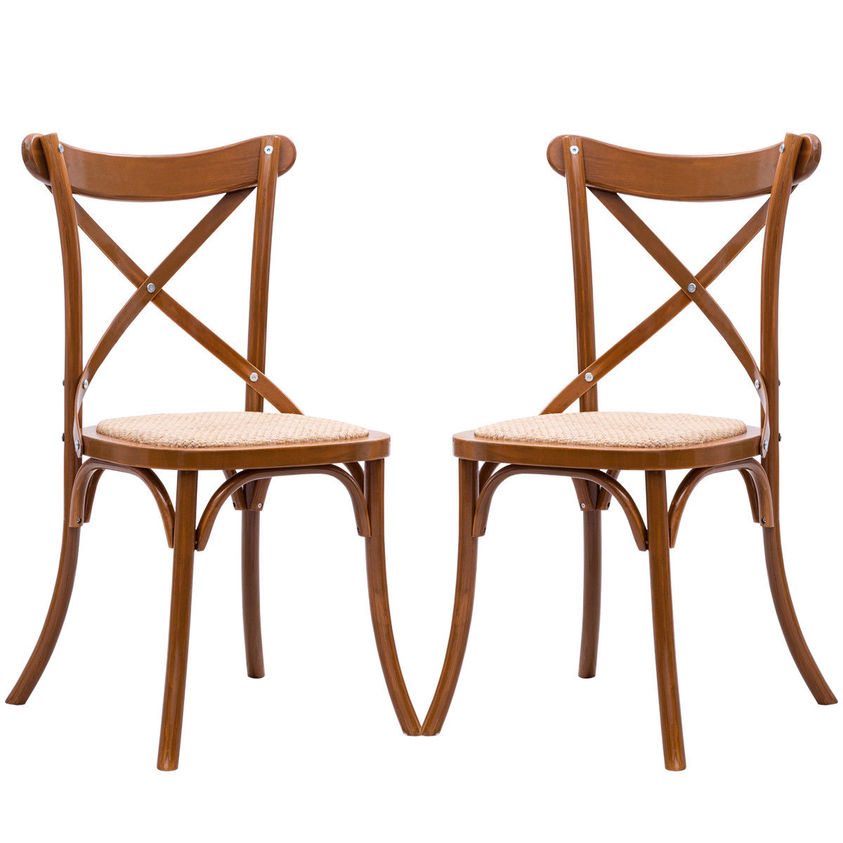 Gymax Set of 2 Cross Back Dining Side Chair Solid Wood Rattan Seat Modern Farmhouse