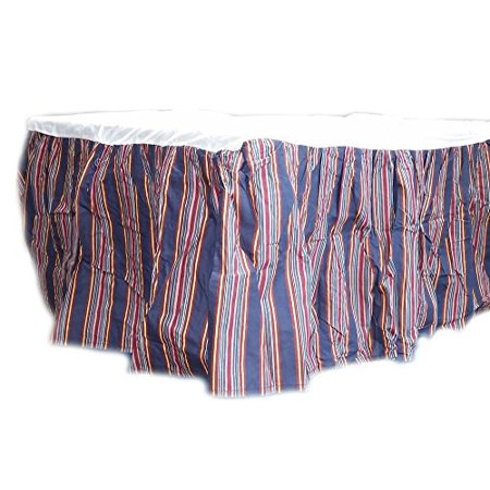 Hedaya Home Fashions Inc Elmsford Queen Bed Skirt Dark Blue w/Multi Colored Stripes - Hedaya Home Fashions