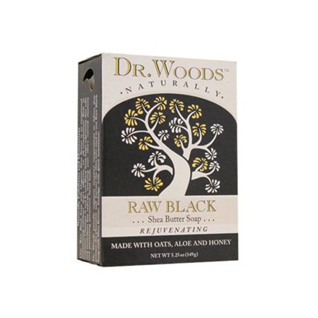 Dr. Woods 1198837 Face Cleansing Raw Black Bar, 5.25 oz