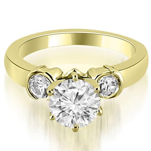 """1.25 cttw. 18K Yellow Gold Half Bezel Round Cut Diamond Engagement Ring (I1, H-I)"""