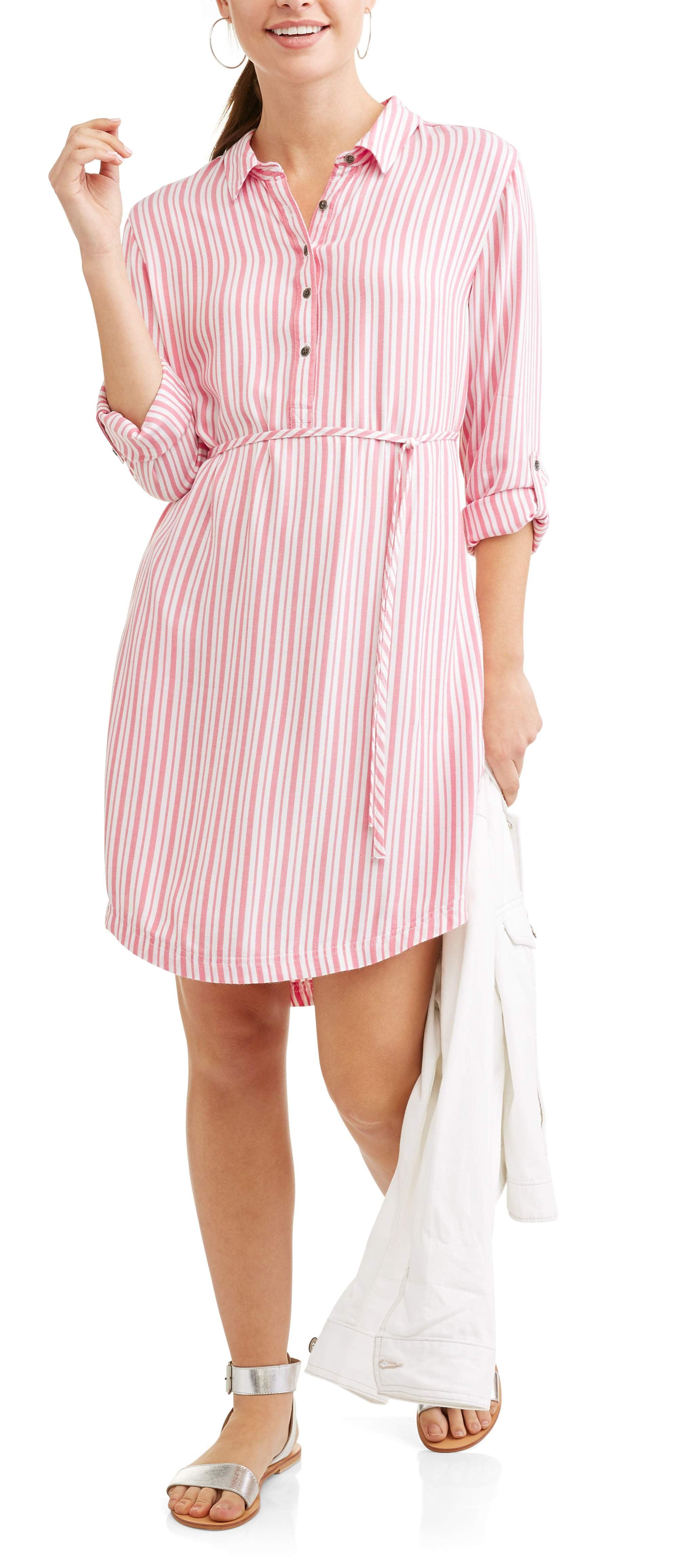96752719459 Women s Lyocell Belted Shirt Dress - Walmart.com