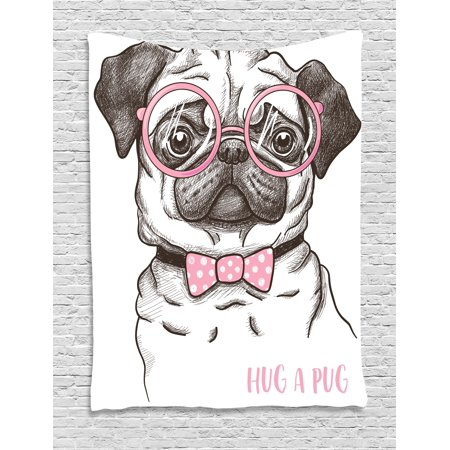 Pug Tapestry, Cute Pug with Pink Bow Tie and Oversized Glasses Hand Drawn Domesticated Animal, Wall Hanging for Bedroom Living Room Dorm Decor, 40W X 60L Inches, Black Pink White, - Oversize Hanging