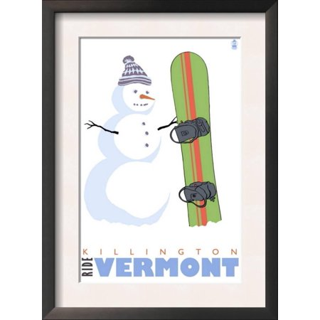 Killington, Vermont, Snowman with Snowboard Framed Art Print Wall ...