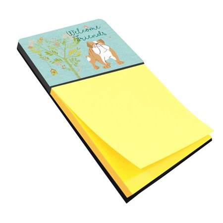 Welcome Friends English Bulldog Sticky Note Holder