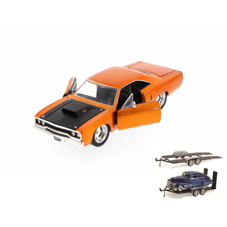 Diecast Car & Trailer Package - Fast & Furious 1970 Dom's Plymouth Road Runner Hard Top, Copper - JADA 97126 - 1/24 Scale Diecast Model Toy Car w/Trailer