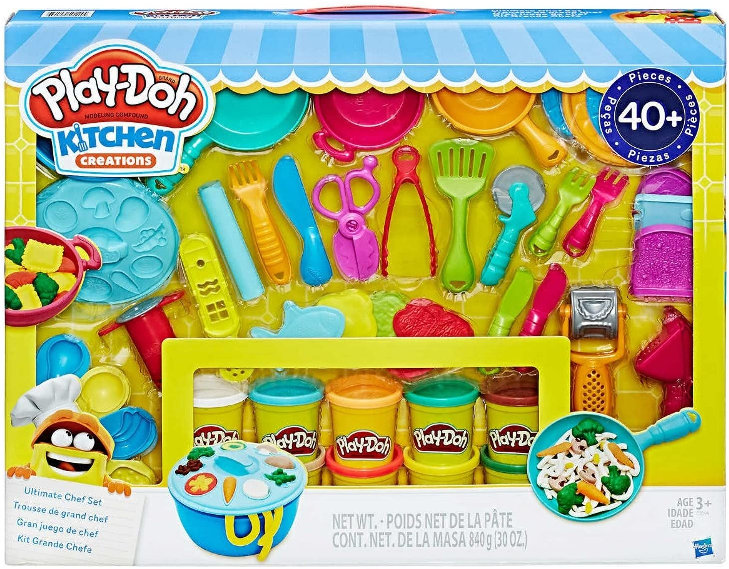 Play Doh Kitchen Creations Ultimate Chef Set Create And Make Meals With Play Doh Kitchen Tools 40 Pieces 10 Cans Of Play Doh Walmart Com Walmart Com