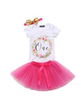 2fb330e9fceb Product Image 3PCS Boby Girls 1st Birthday Outfits Short Sleeve Bodysuit  Romper+Tutu Skirt And Headband