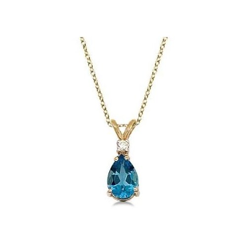 Seven Seas Jewelers Pear Blue Topaz & Diamond Solitaire Pendant Necklace 14k Yellow Gold by Brand New