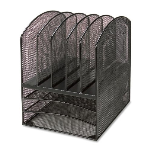 "Lorell Mesh Horizontal Vertical Desktop Organizer - 13"" Height X 9.5"" Width X 11.4"" Depth - 5 Compartment[s] - Steel - Black (LLR95255)"