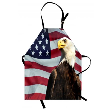 - Eagle Apron United States of America Flag with Symbol of the Country Looking into the Horizon, Unisex Kitchen Bib Apron with Adjustable Neck for Cooking Baking Gardening, Multicolor, by Ambesonne
