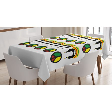 Jamaican Tablecloth, Collection of Reggae Icons Colorful Peace Symbols Abstract Americas Composition, Rectangular Table Cover for Dining Room Kitchen, 60 X 90 Inches, Multicolor, by