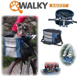 "Walky Basket Pet Dog Bicycle Bike Basket & Carrier Easy Click Mounting - Up to 18lbs 15.5"" L X 10"" Depth with Zippered Mesh Top"