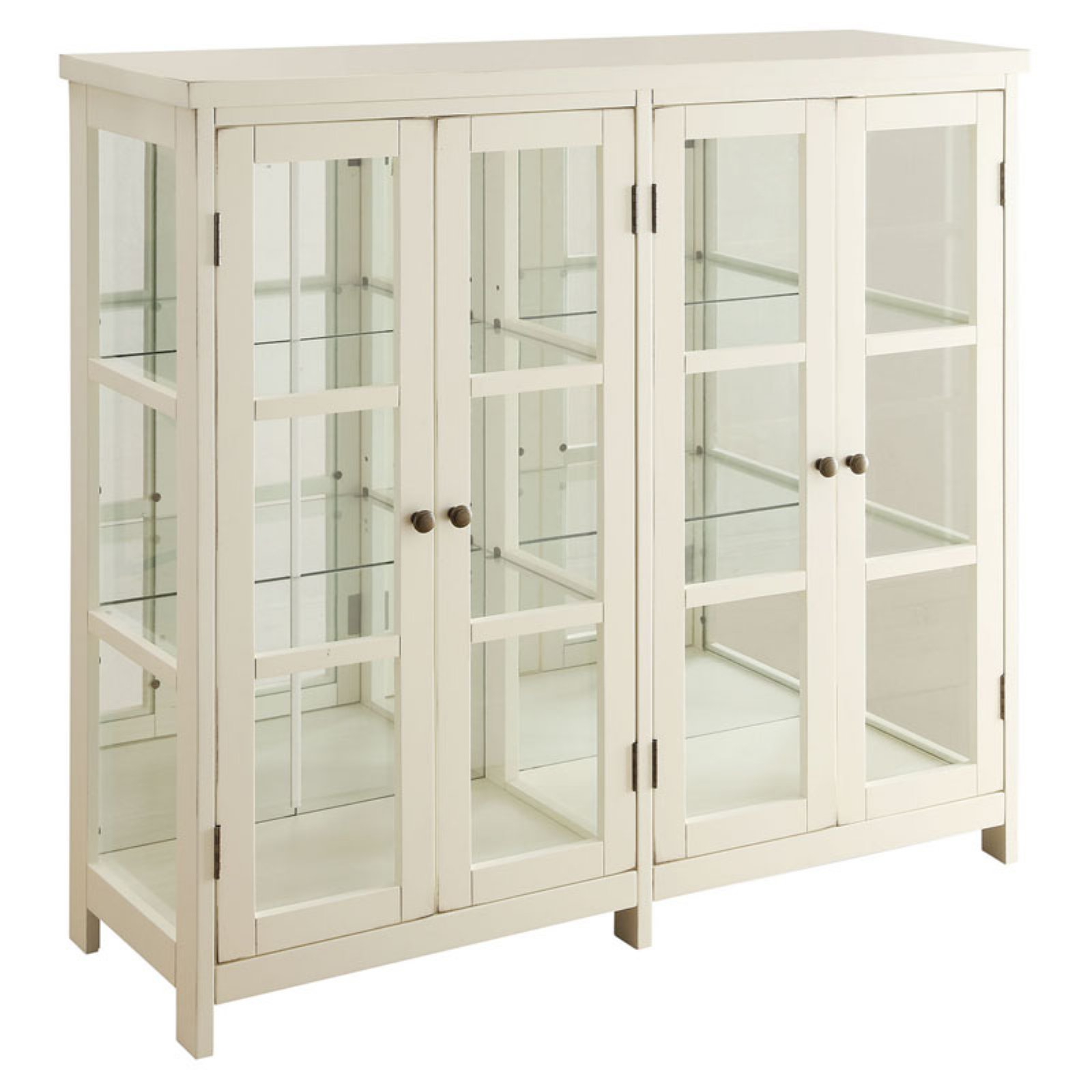 Coaster Company Transitional Style White Accent Cabinet w/ Glass Panel Doors