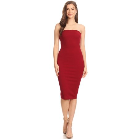 922a6114d5 Moa Collection - MOA COLLECTION Women s Casual Solid Comfy Sexy Strapless  Midi Bodycon Tube Dress Made in USA - Walmart.com