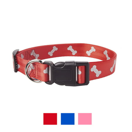 Vibrant Life Reflective Dog Collar, Red Bones, Large