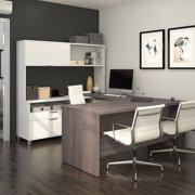 Bestar Pro-Linea U-Desk with Hutch, White & Bark Grey