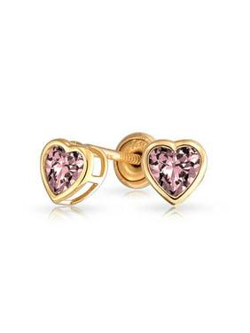 7580e2eb1fd3d Product Image Tiny Heart Bezel Set Stud Earrings Kids Light Color Cubic  Zirconia Simulated Stones CZ 14K Gold