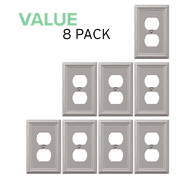 Value 8-Pack Duplex Outlet Wall Plate Decorative Steel, Brushed Nickel