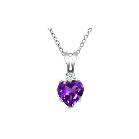 0.43 Ct Heart Shape Purple Amethyst White Topaz 925 Sterling Silver (Pink Amethyst Pendant)