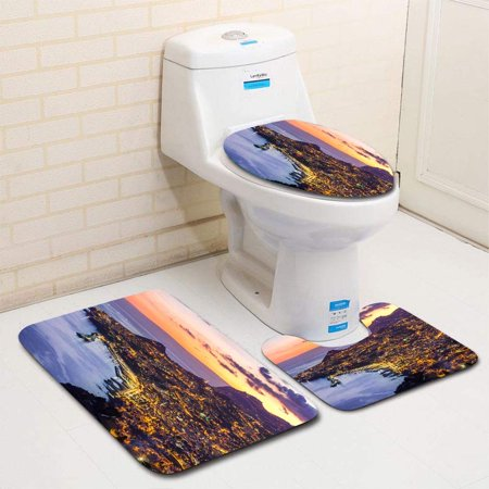 XDDJA Sunset Over Funchal Madeira Portugal 3 Piece Bathroom Rugs Set Bath Rug Contour Mat and Toilet Lid Cover - image 1 of 2