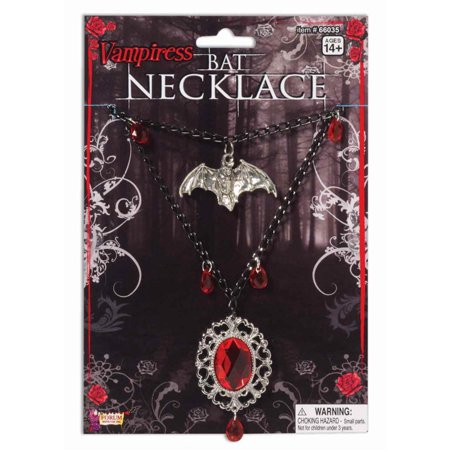 Gothic Vampiress Bat Necklace Costume - Costume Jewelry