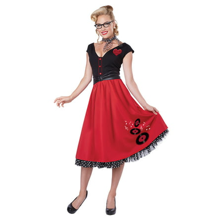 Adult  50's Female Rock N Roll Sweetheart Costume by California Costumes - Roll Costume