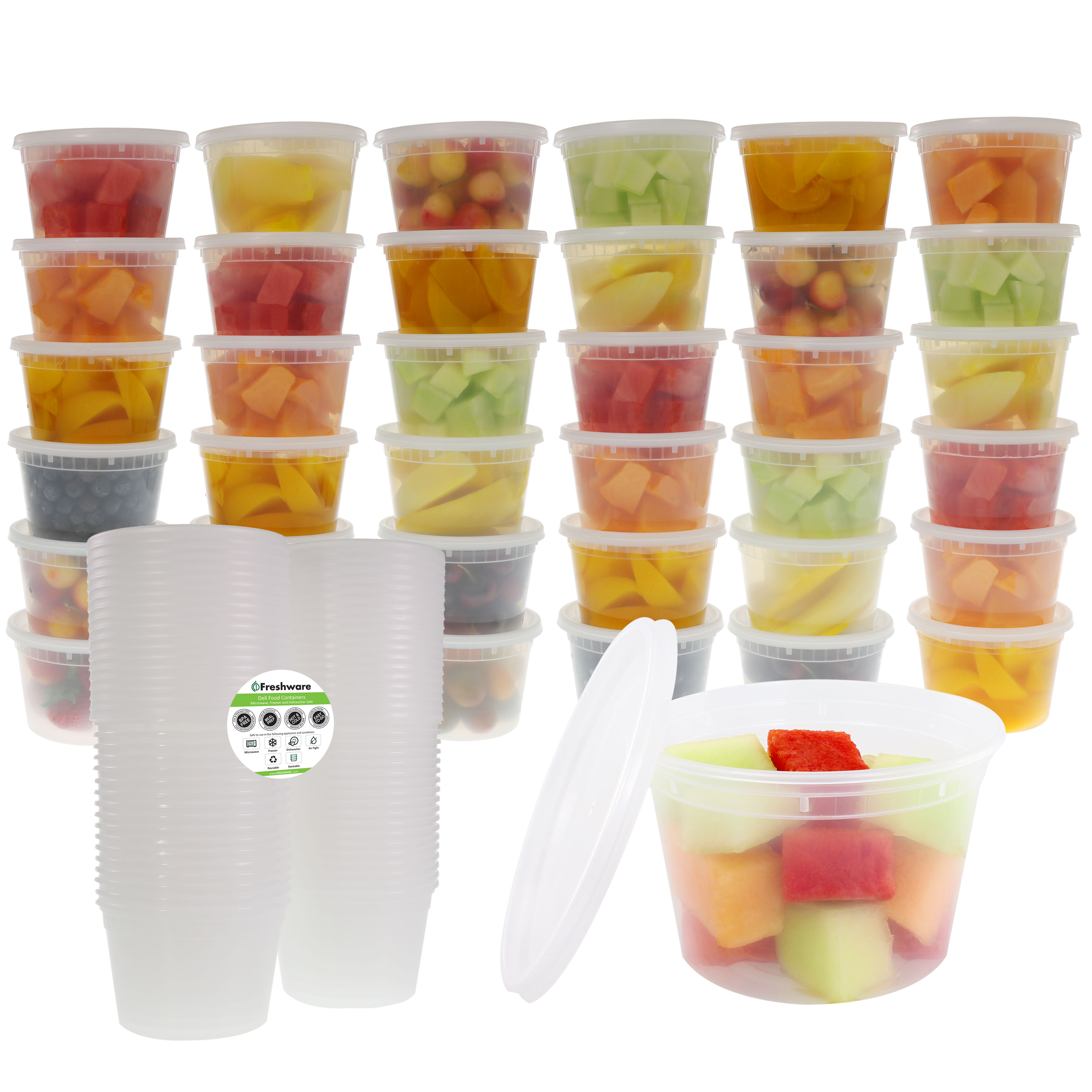 Freshware Plastic Containers with Lids, 16 Ounce, 36-Pack, YH-S16X36