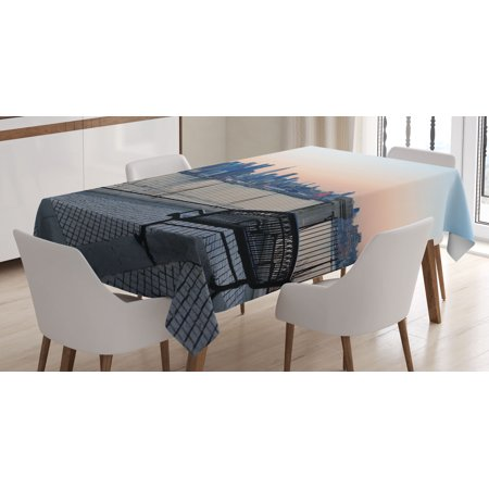 Landscape Tablecloth, Bench in New York City Midtown Manhattan Sunset Hudsn River Skyline Scenery Photo, Rectangular Table Cover for Dining Room Kitchen, 60 X 84 Inches, Multicolor, by