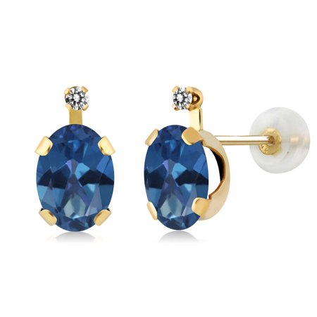 1 91 Ct Oval Royal Blue Mystic Topaz White Diamond 14K Yellow Gold Earrings