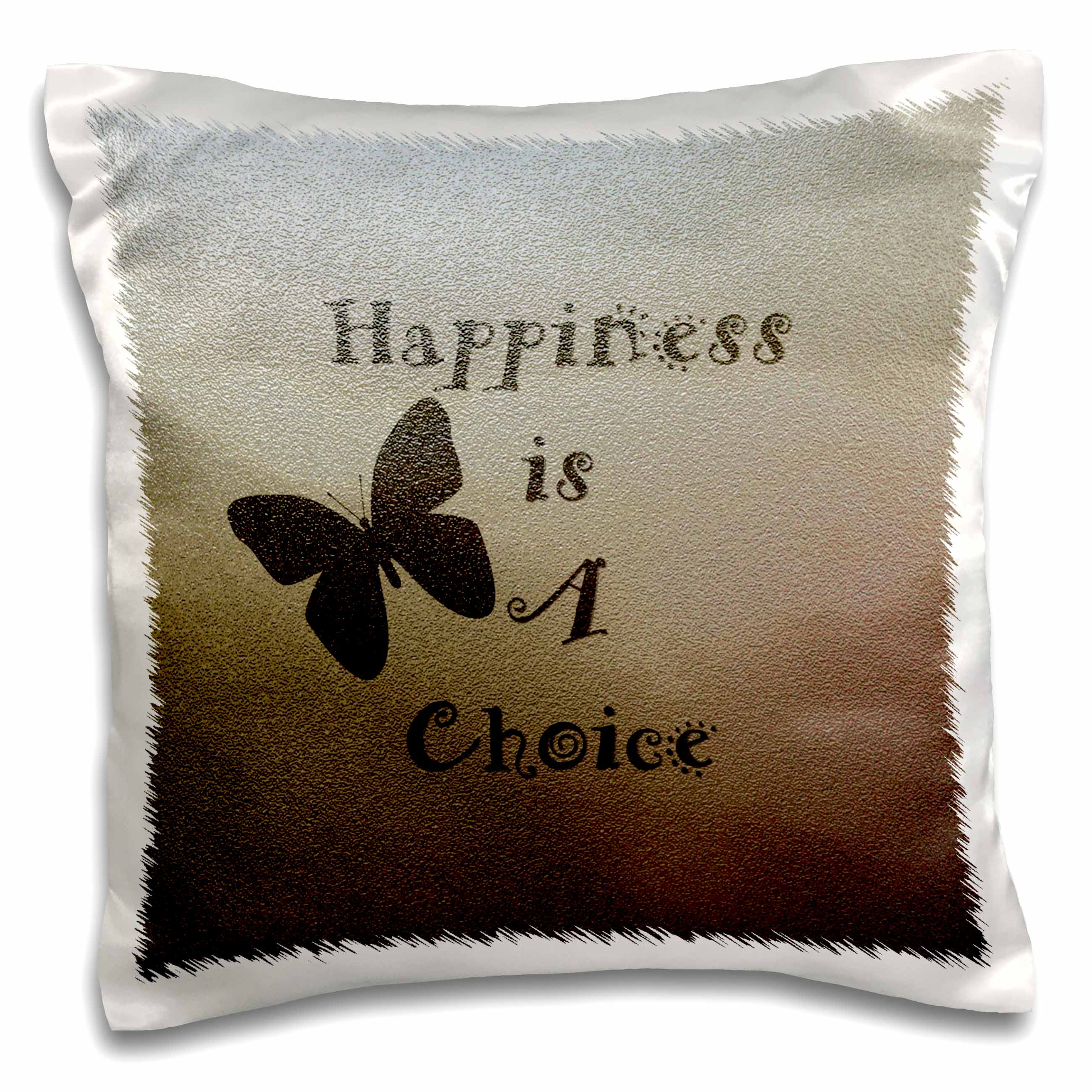 3dRose Gold Textured Happiness is A Choice Butterfly - Inspired Art, Pillow Case, 16 by 16-inch