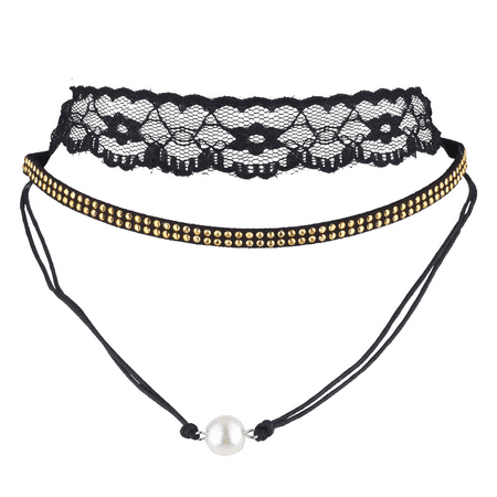 Lux Accessories Black Lace Gold Tone Double Row Studded Pearl Choker Set (3PCS)