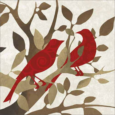 Two Birds on Tree Branches with Leaves Vector Silhouette Texture Red & Tan Canvas Art by Pied Piper Creative](Birds Silhouette)