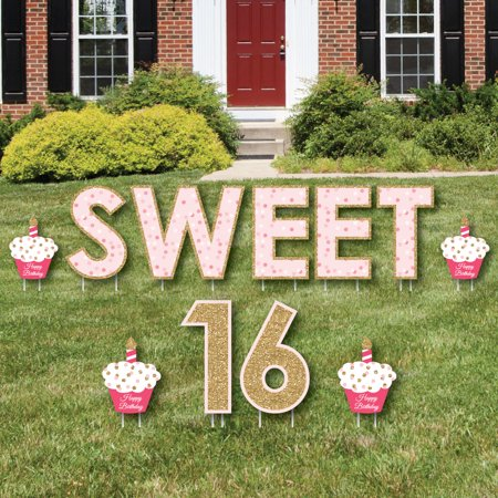 Sweet 16 - Yard Sign Outdoor Lawn Decorations - Happy Birthday Yard Signs